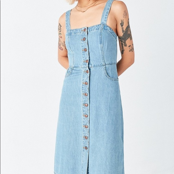 9b612ccc63 Urban Outfitters Denim button front Overall Dress